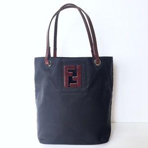 Vintage Fendi nylon and leather mini tote bag